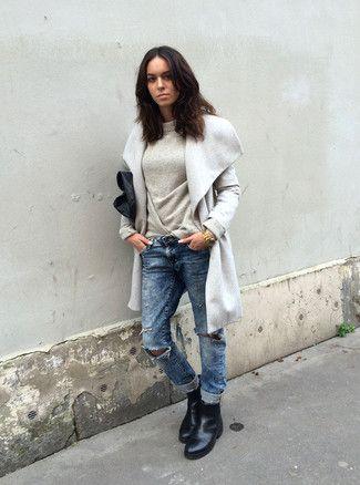 Inspiration Lookastic Boyfriend Jeans Oversized Grey Sweater Black Leather Chelsea Boots