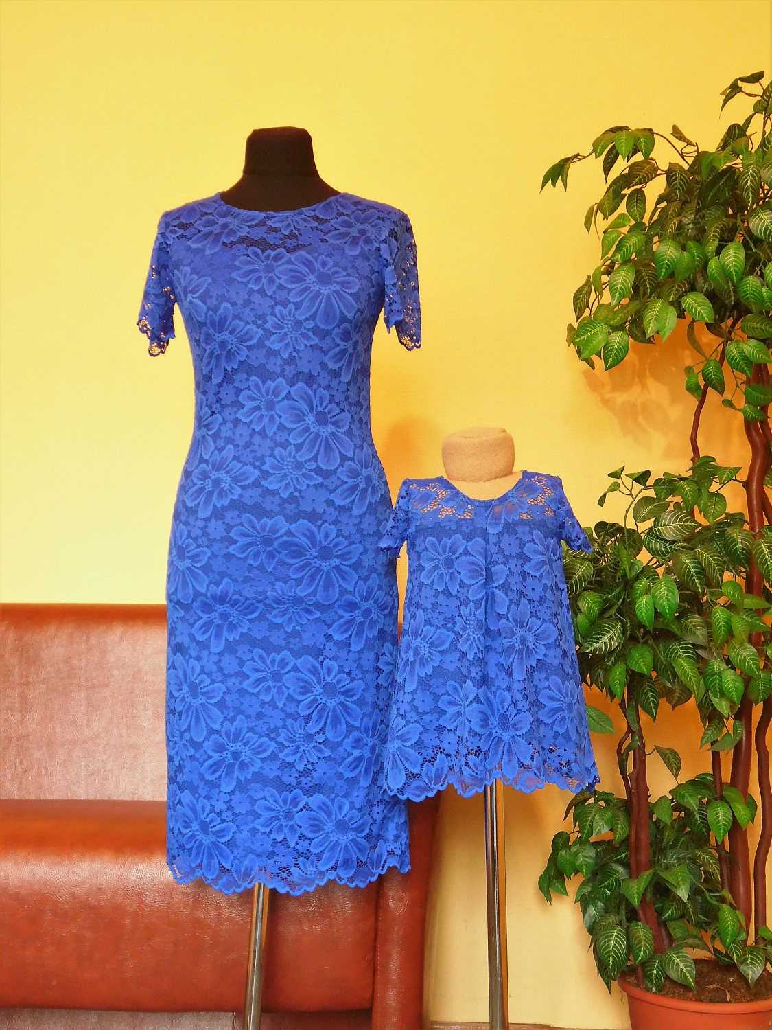 Blue mother daughter matching dress mommy and me outfits