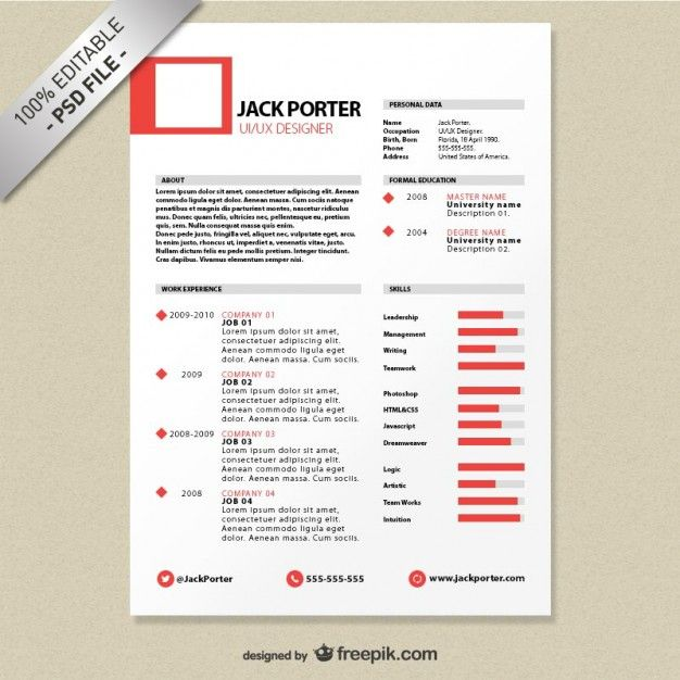 creative resume template download free psd file microsoft word - Job Resume Format Download