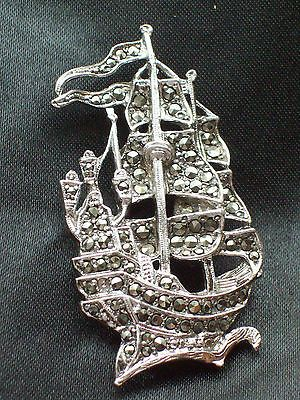 GORGEOUS VINTAGE MARCASITE SHIP GALLEON BROOCH/PIN COSTUME JEWELLERY. SOLD.