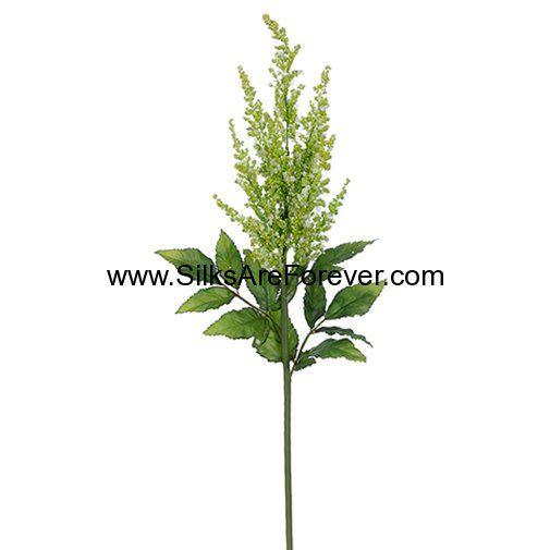 """31"""" Artificial Astilbe Flower Spray -Green/White (pack of 12) - Silks Are Forever"""