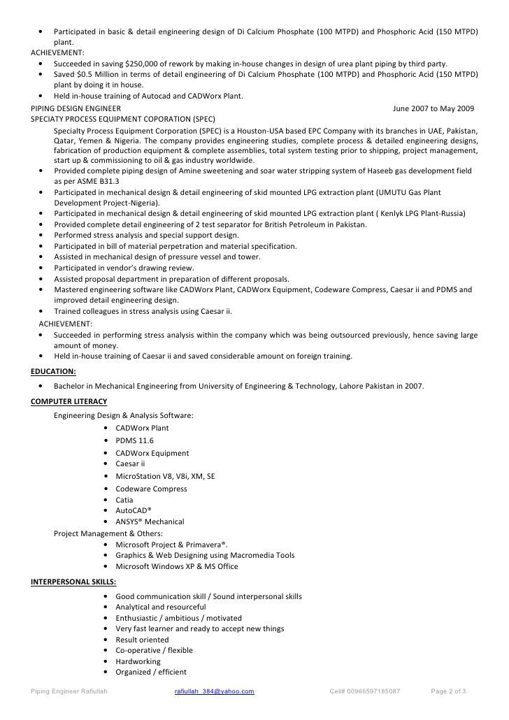 Resume for piping designer performance professional