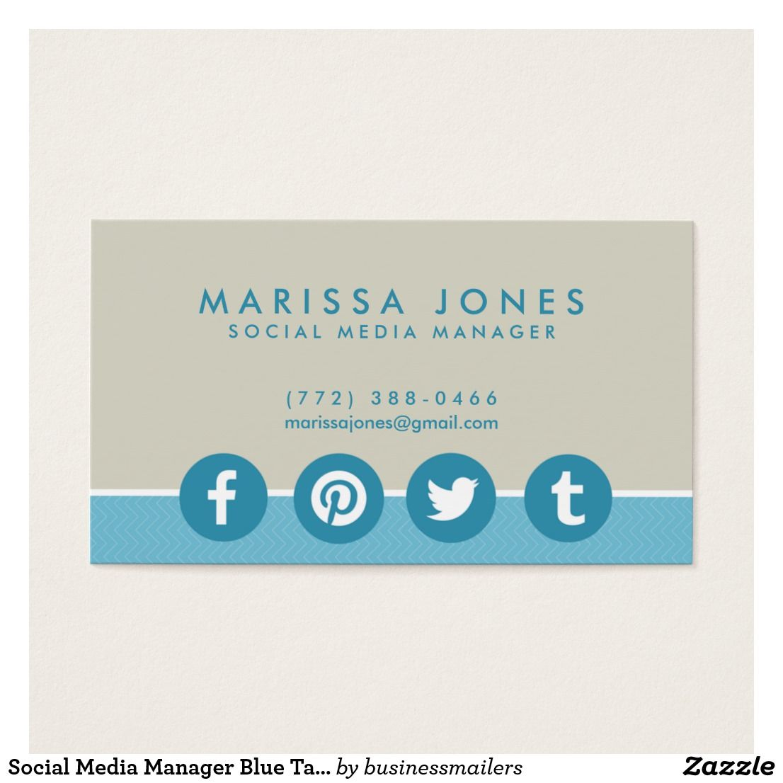 Social media manager blue tan business cards business cards business cards magicingreecefo Images