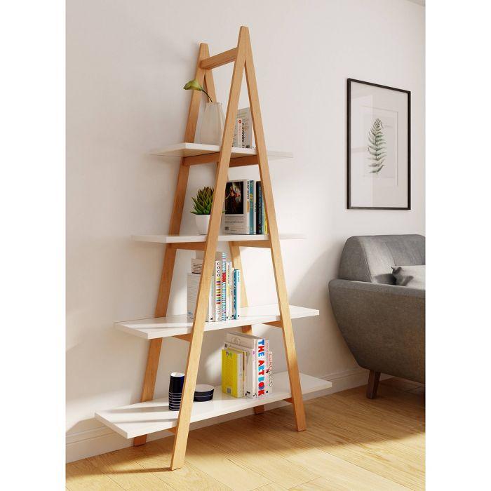 Abacus Ladder Bookshelf Oak And White Universal Expert Ladder