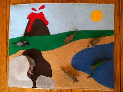 A take-along dinosaur playmat I made for my 2 year old. There's a zipper on the back for easy dino storage!