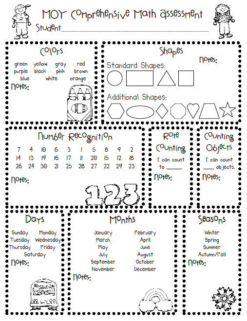 7 Free Assessment Resources for PreK to 1st Grade – Math Assessment Worksheets