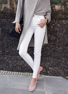 High waist napping skinny pants-Vc-t45246 @DahongOfficial