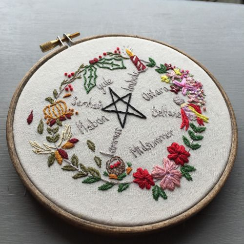 earleybirdstuff: Pagan/Wicca Year Wheel Witchy Embroidery ...
