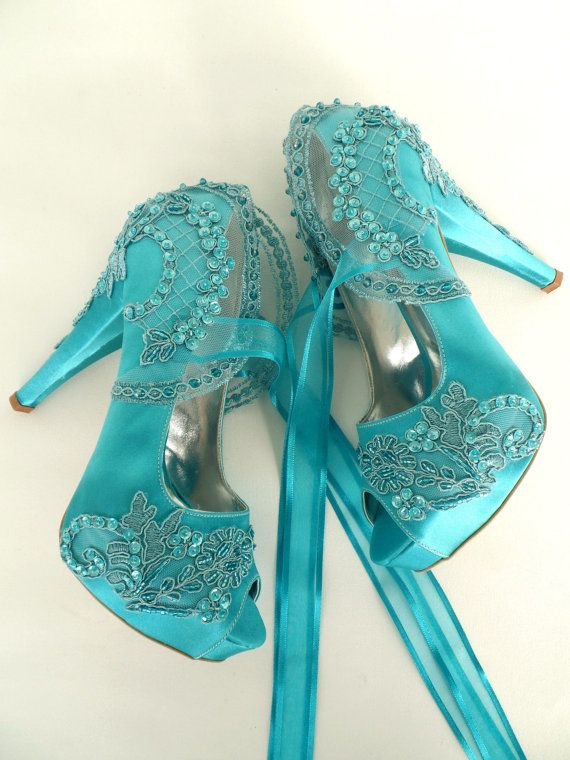 embellished lace wedding shoes, teal satin embroidered bridal shoes