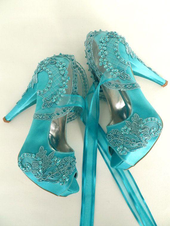 Embellished Lace Wedding Shoes Teal Satin Embroidered Bridal Etsy Lace Bridal Shoes Wedding Shoes Lace Wedding Shoes