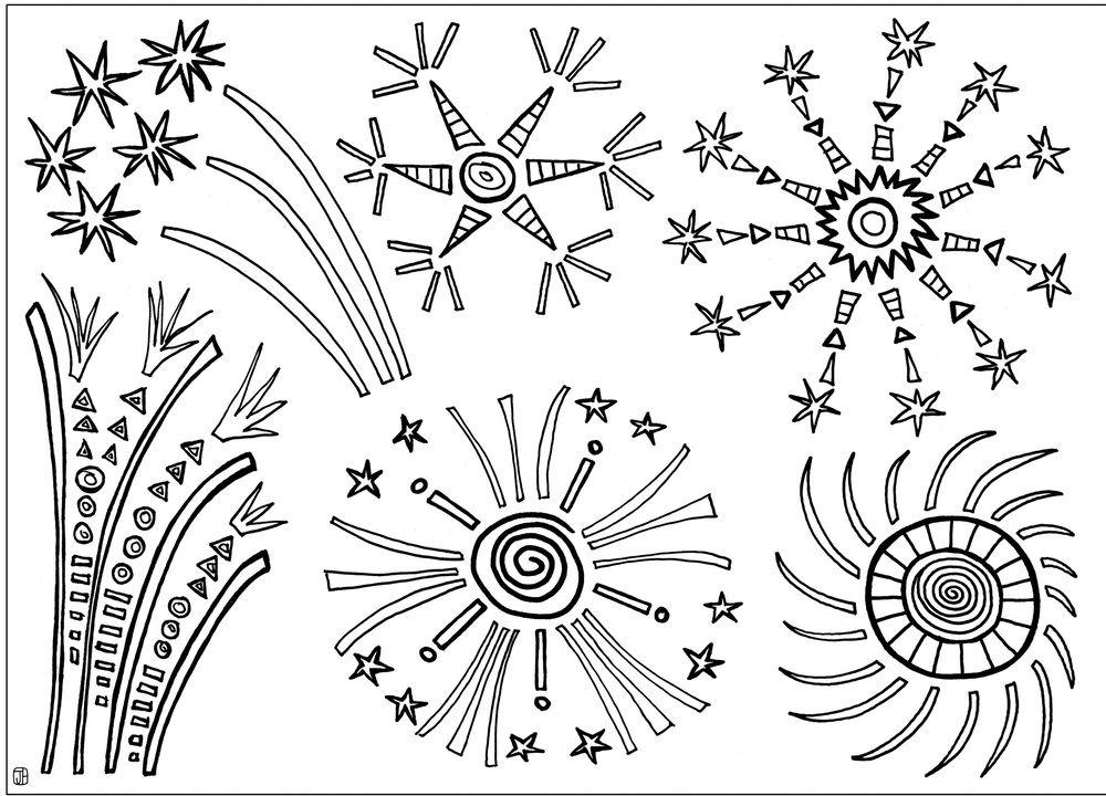 Printable Fireworks Coloring Sheet