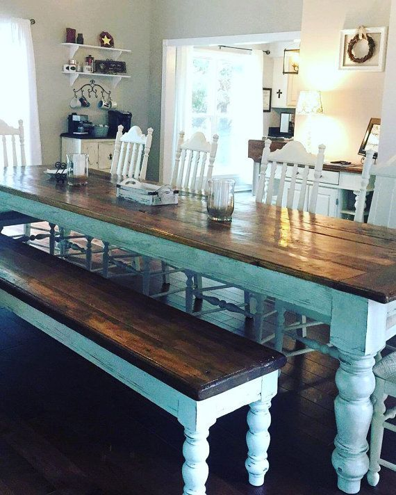 10 foot heart pine table and bench by WellsWorksFurniture on Etsy i