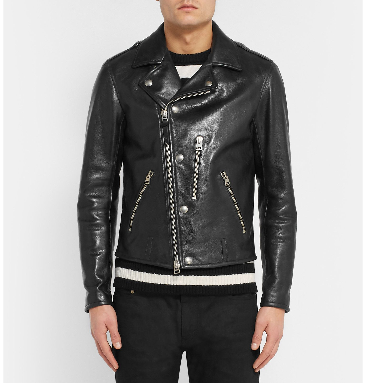 tom ford slim fit leather biker jacket men 39 s style. Black Bedroom Furniture Sets. Home Design Ideas