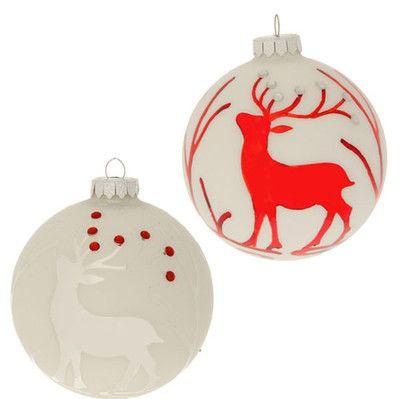 Raz 4 Deer Ball Ornament Set Of 2 Ball Ornaments Ornament Set Glass Ball Ornaments