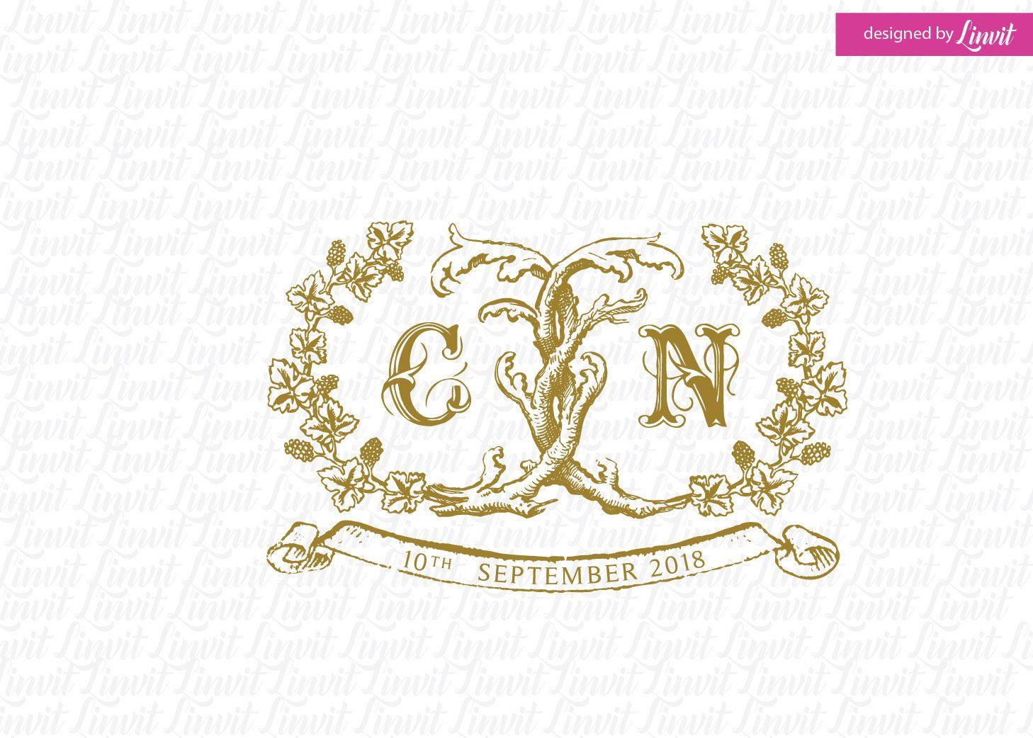 Wedding Logo Vintage Logo Vintage Monogram Wedding Design Etsy Wedding Logos Vintage Wine Wedding Custom Wedding Monogram