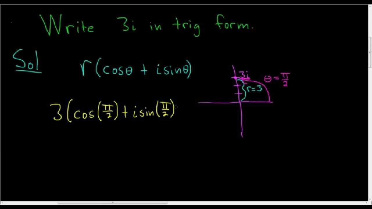 Write 3i In Polar Trigonometric Form Math Videos Number Videos Complex Numbers Adding and subtracting complex numbers