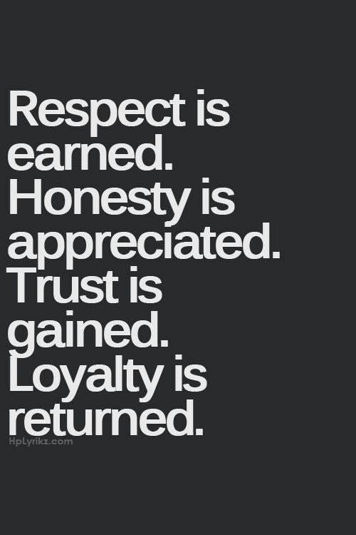 Quotes About True Friendship And Loyalty Glamorous Respect Is Earned Honesty Is Appreciated Trust Is Gained Loyalty