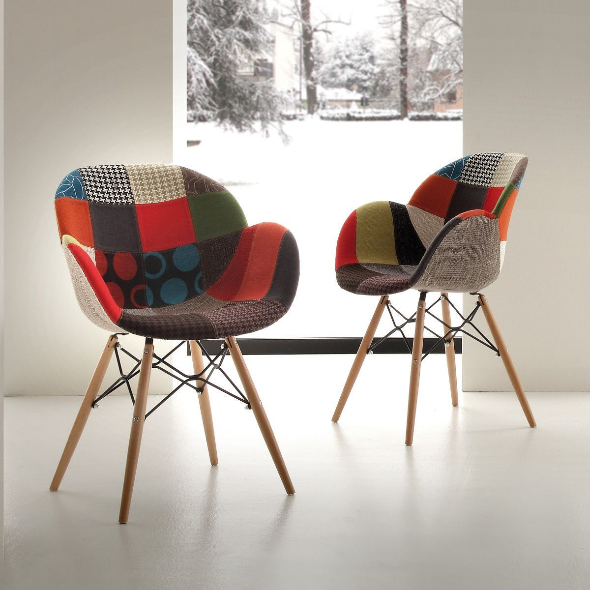 Sedia patchwork multicolore per salotto moderno Evette Patch