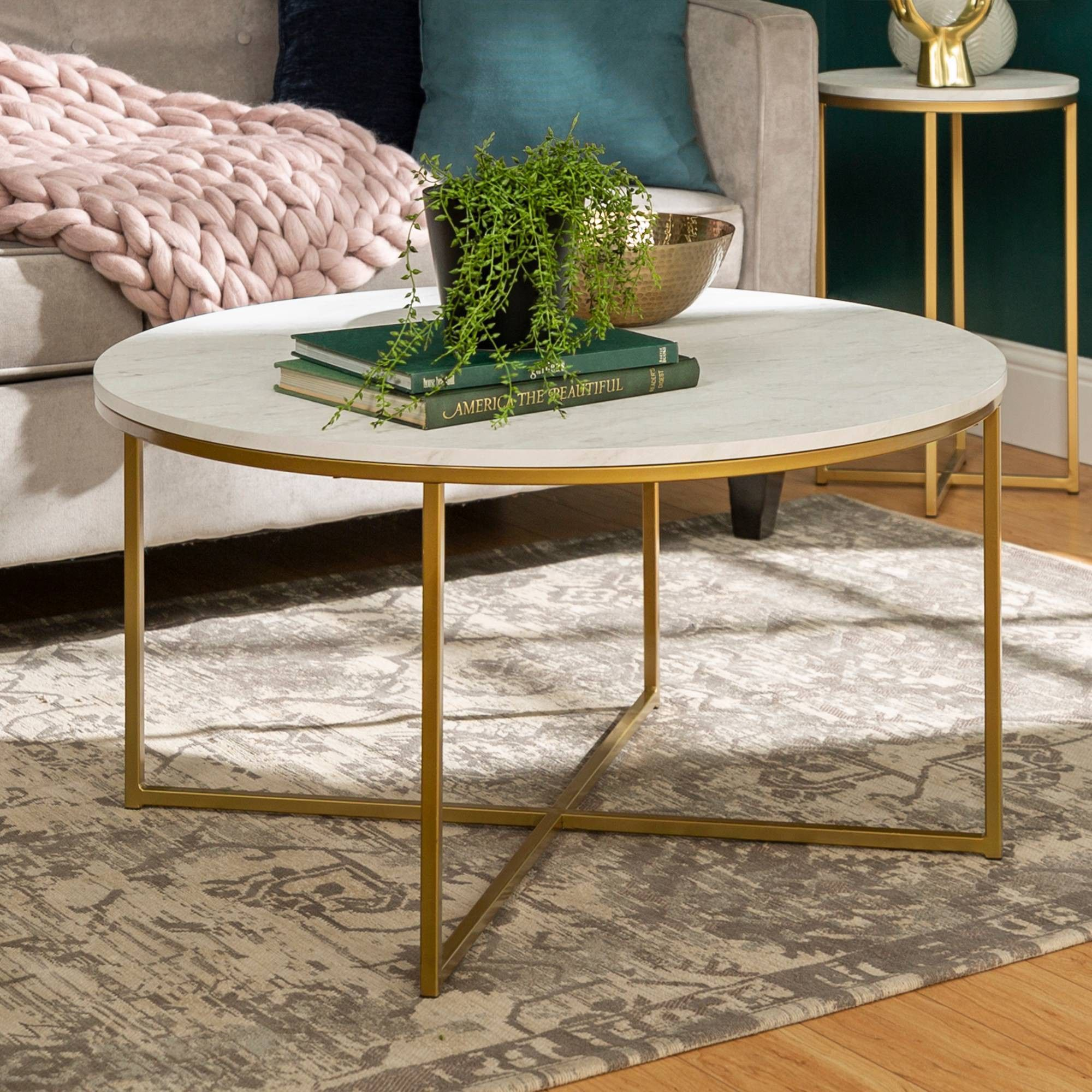 36 Coffee Table With X Base Marble Gold Saracina Home Faux