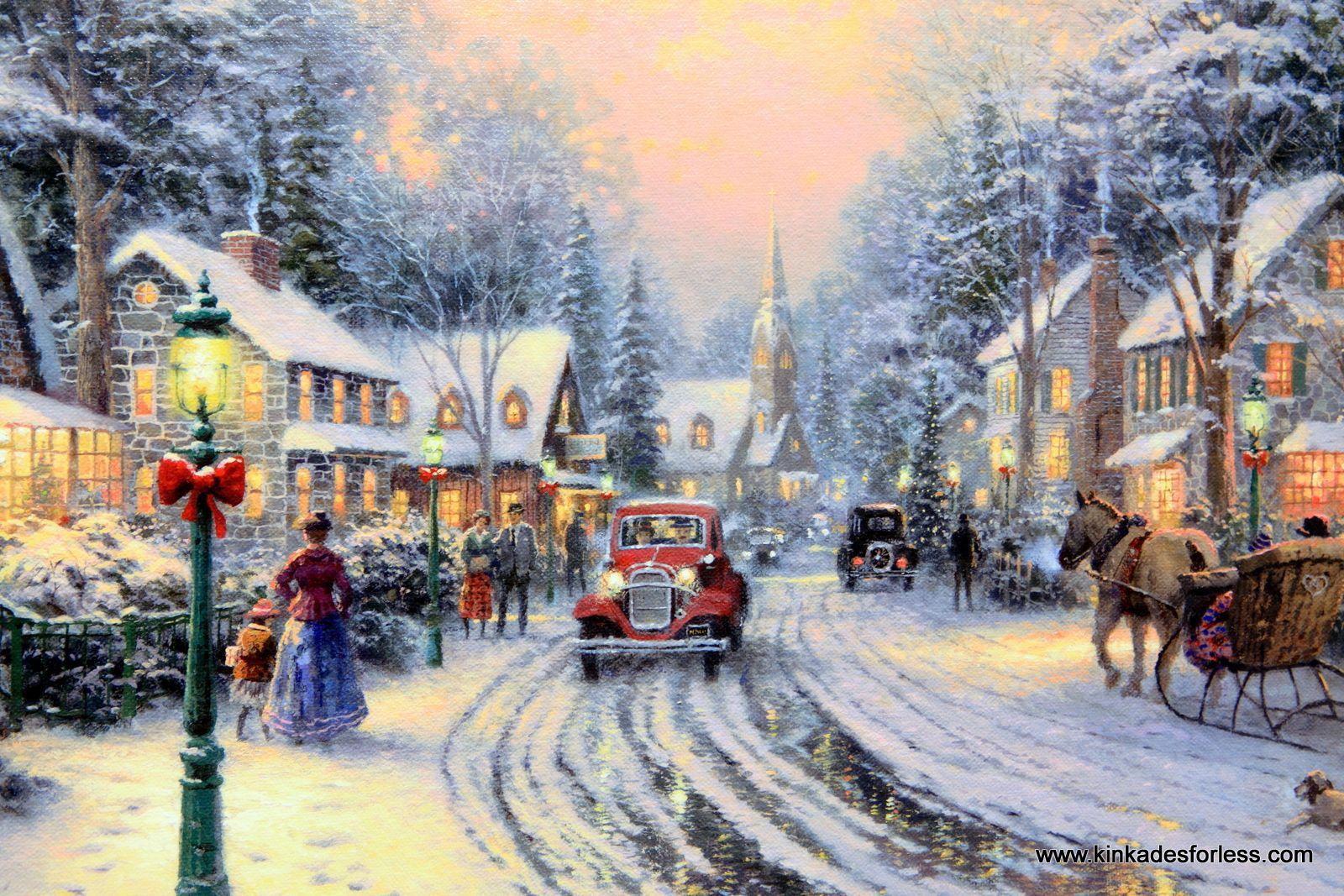 Thomas Kinkade Christmas Village | Village Christmas on canvas ...