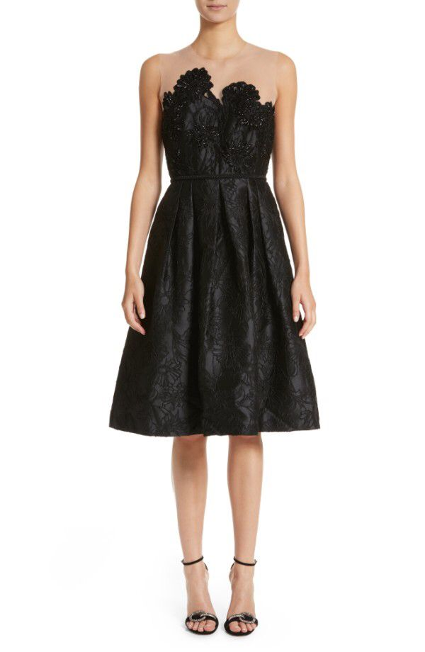 Carmen Marc Valvo Couture Carmen Marc Valvo Couture Illusion Yoke Embroidered Jacquard Cocktail Dress available at #Nordstrom