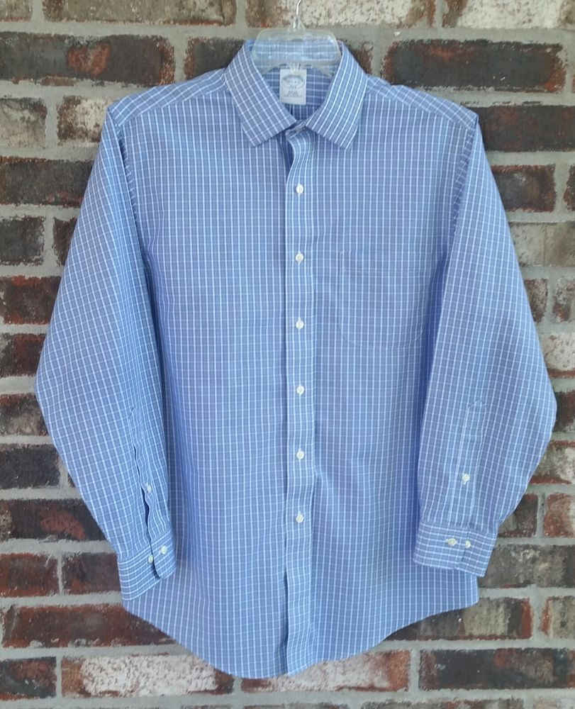6aebbed9 Brooks Brothers 346 Shirt 15 1/2- 2/3 Blue Plaid Slim Fit Non Iron Cotton  Career #BrooksBrothers