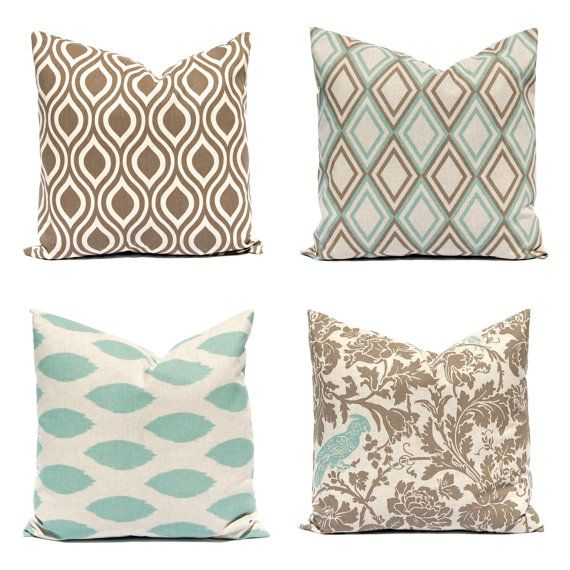 Euro Sham Decorative Throw Pillow Covers In A Beautiful Seafoam Green Ikat  And Kelp Brown On Linen. All Designer Prints From Premier Prints.