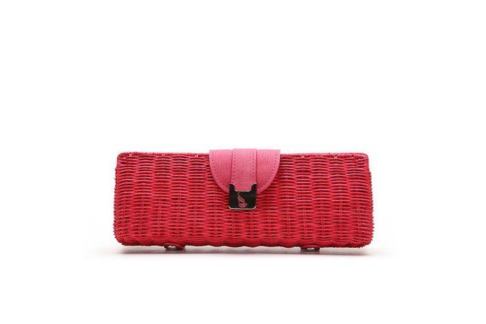 Bolso de mano - Clutch de rafia en color rojo   HAZELNUT