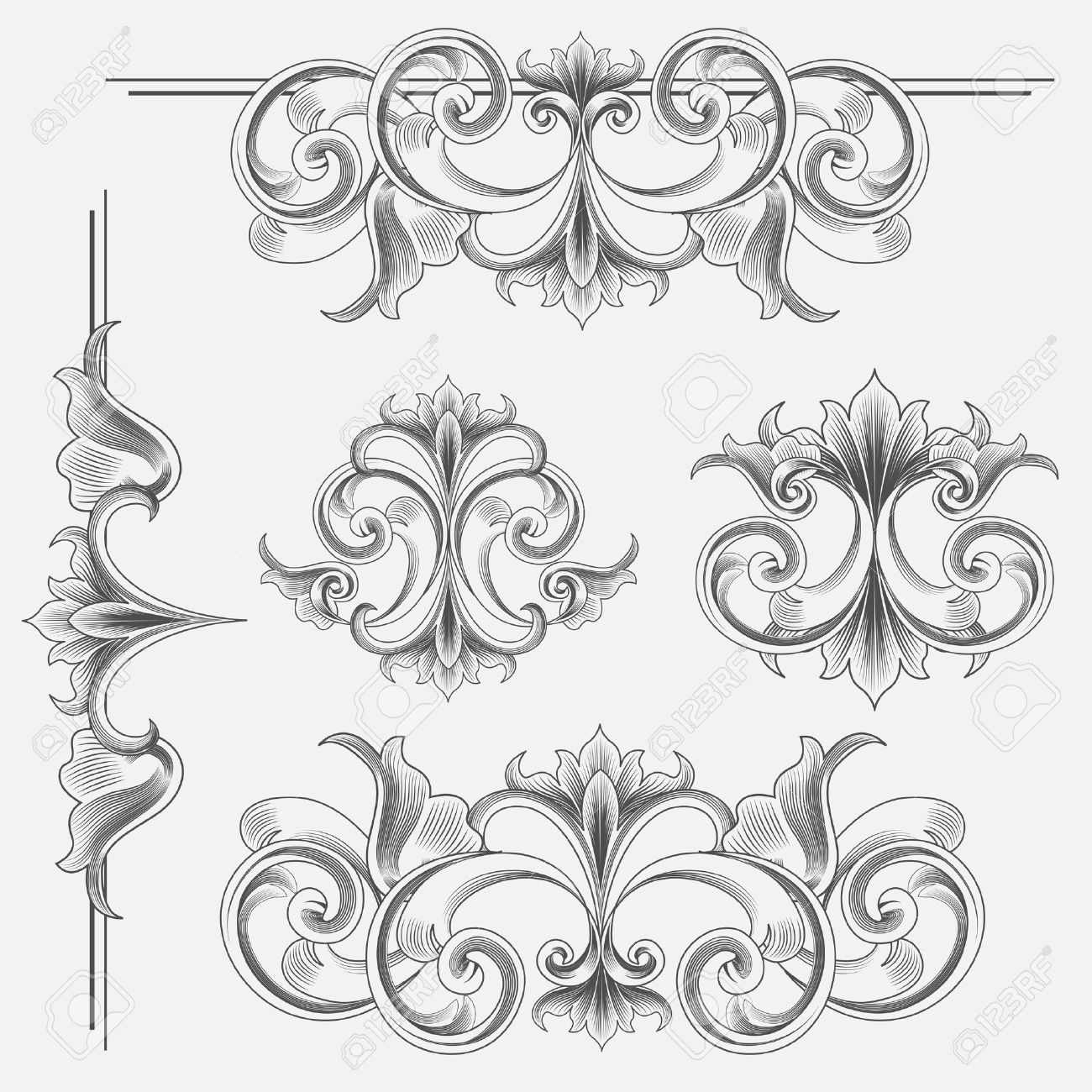 10392308 Set Of Victorian Style Decorations Stock Vector Ornament Floral Engraving Jpg 1300 1300 Victorian Fashion Art Clip Art