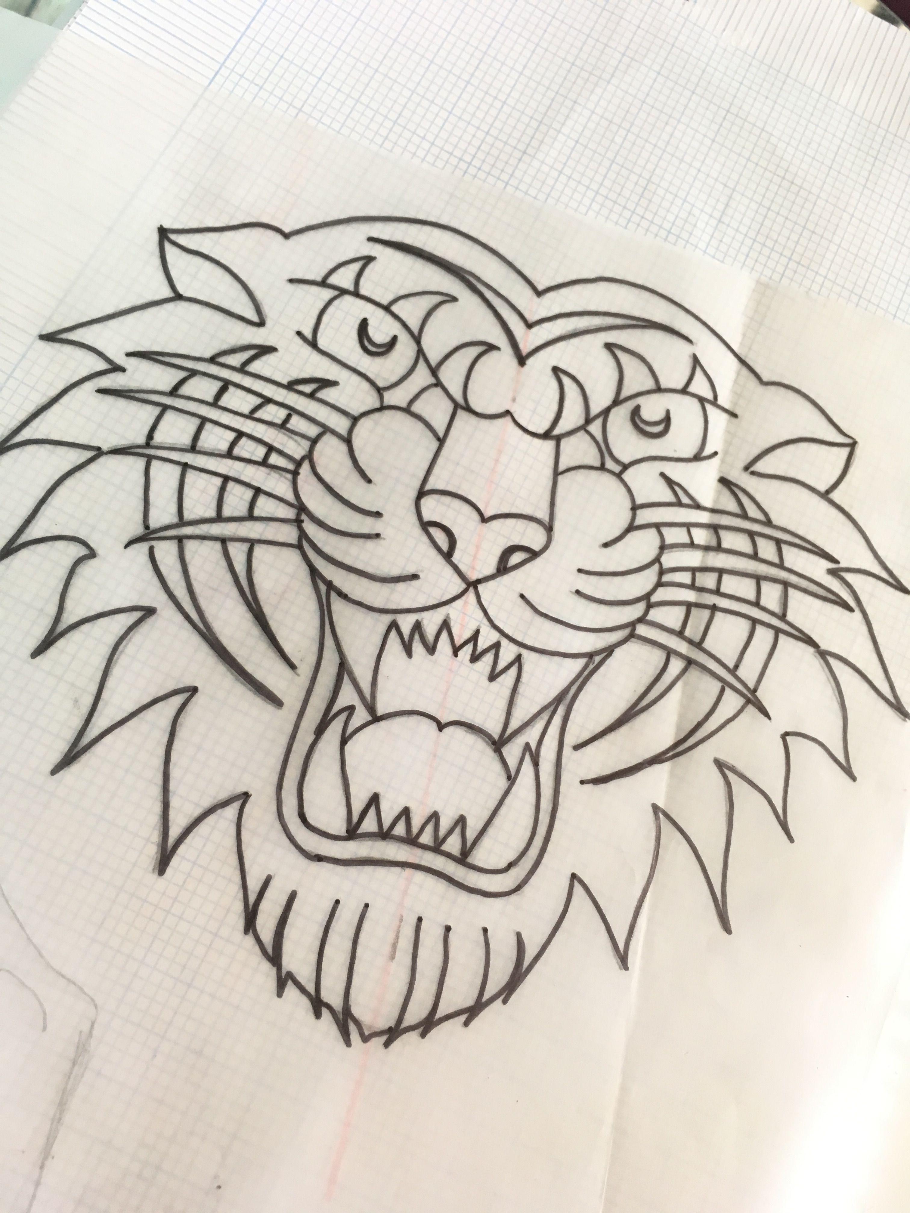 Dibujo Tradicional Old School Tattoo Tigre Tattoo