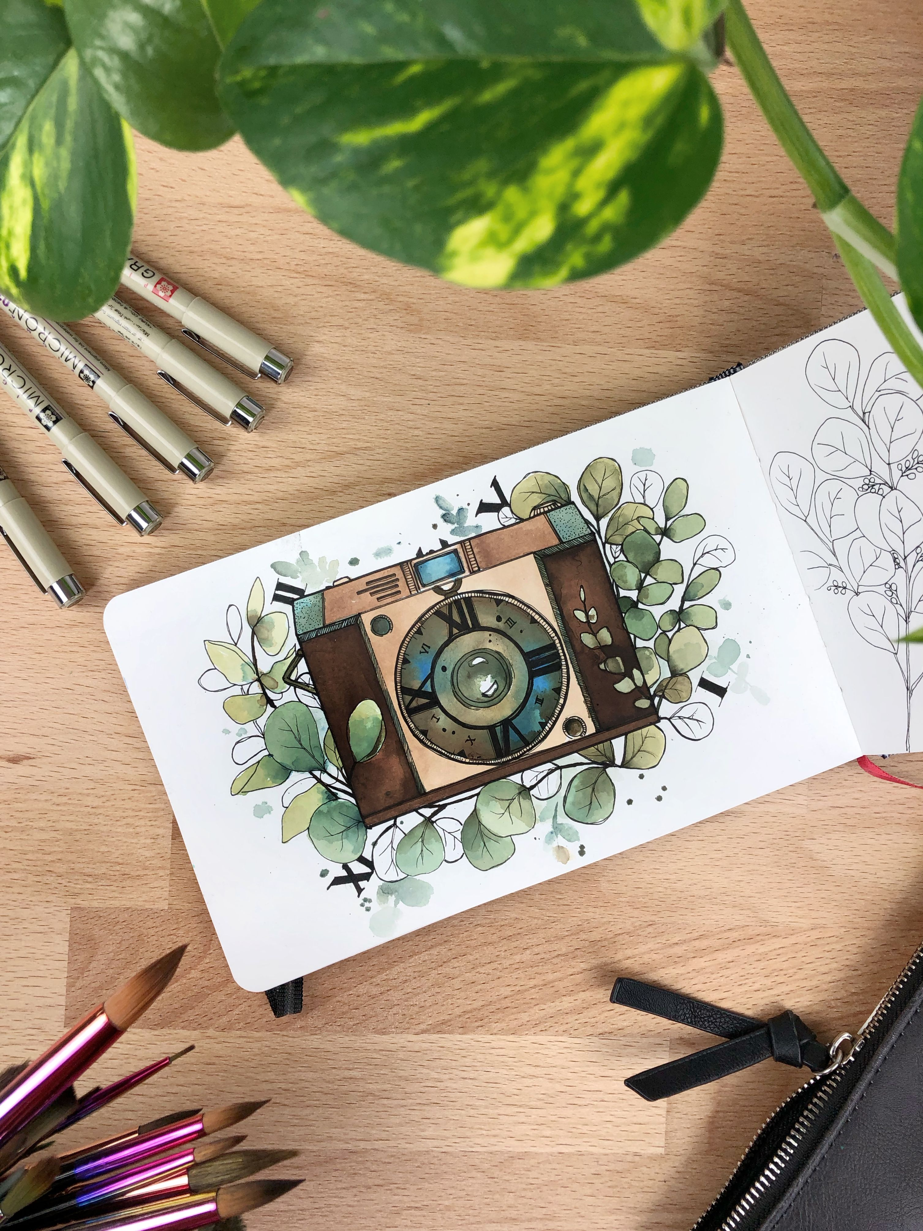 Camera And Time Illustration With Watercolors And Micron Pens