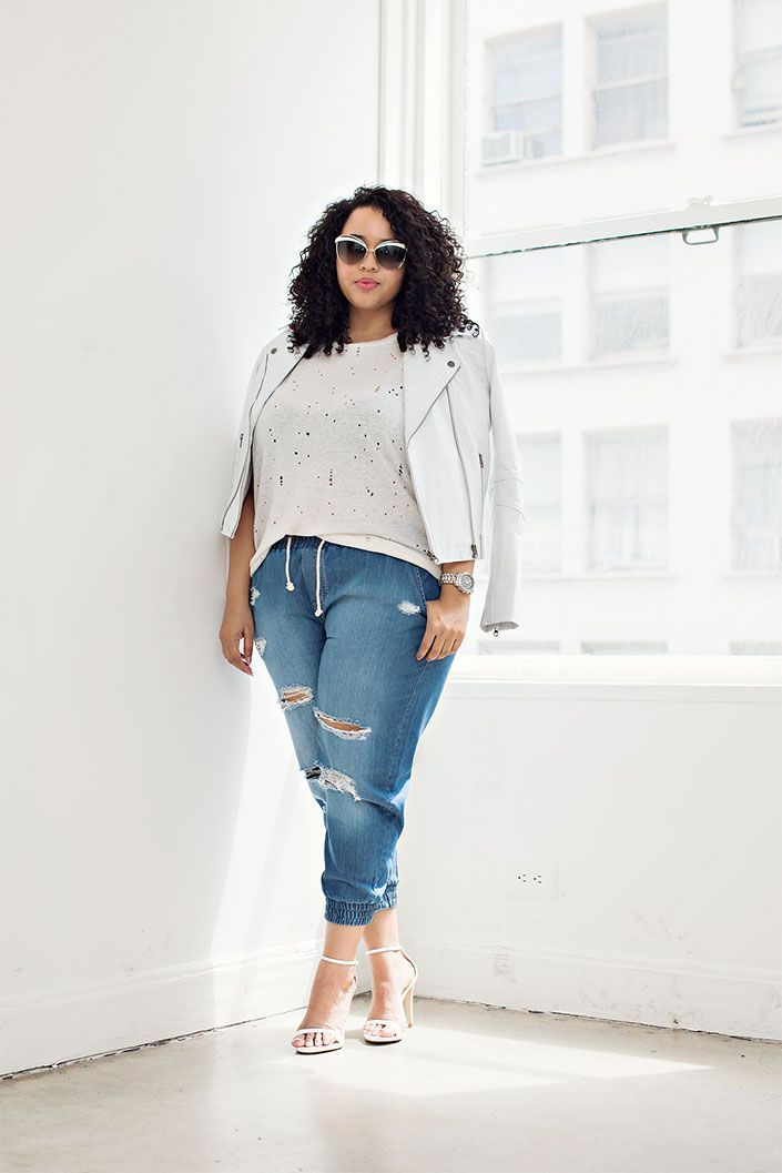 27d7e565a07 Curvy Style Inspiration  A modern way to rock distressed denim ...