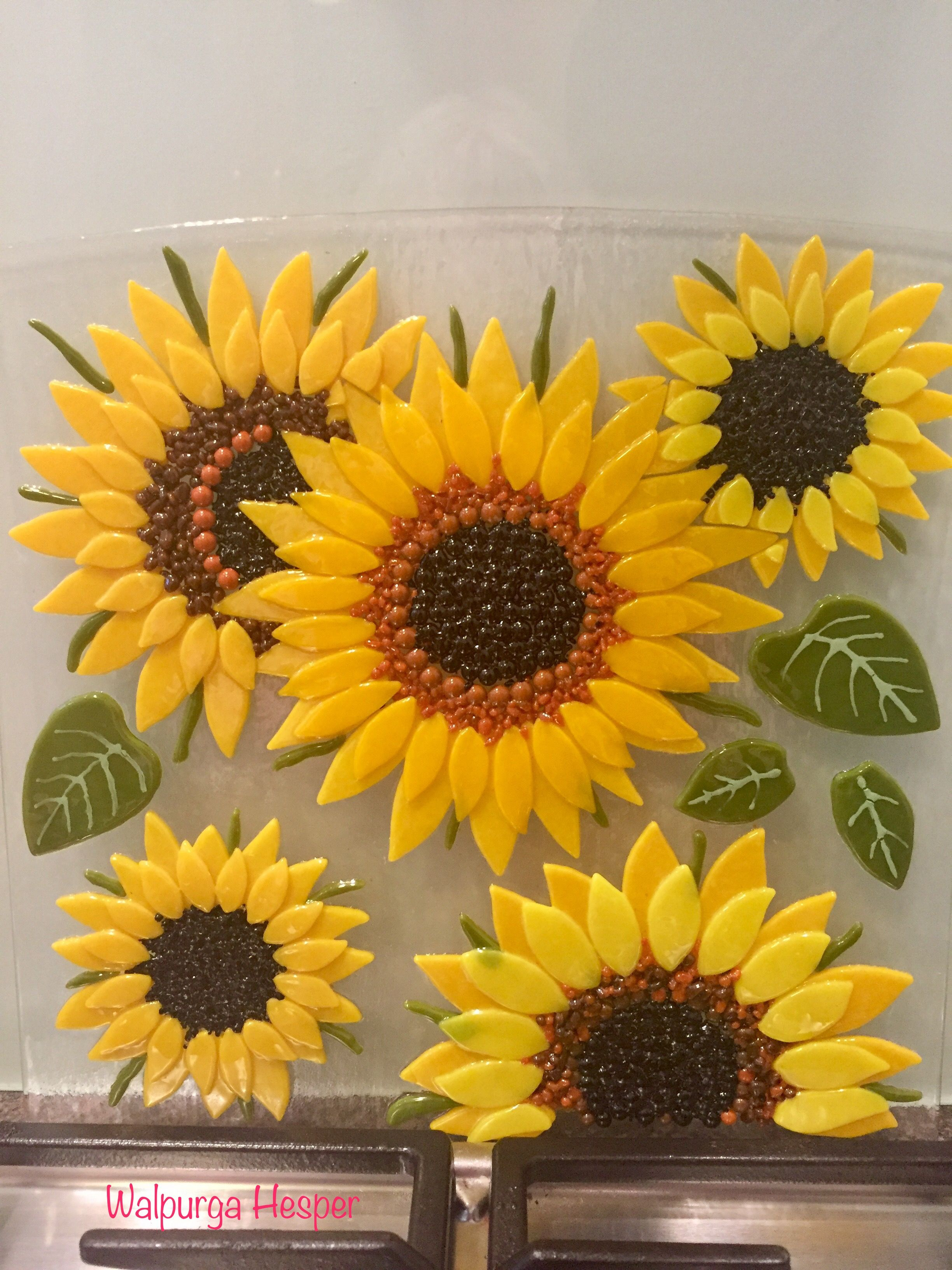 Fused glass - sunflower backsplash   Fused glass   Pinterest ...