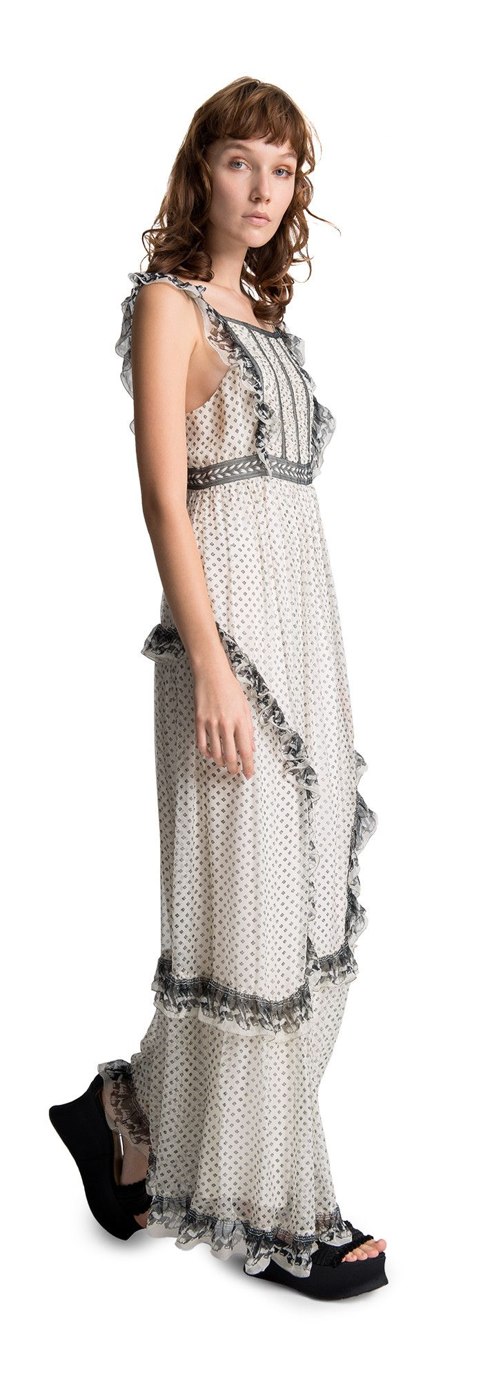 Printed chiffon long dress wearing cream black and red can be the