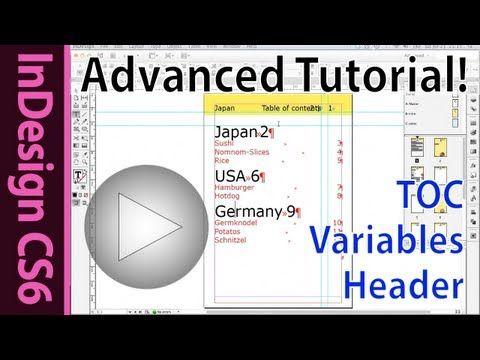 Indesign CS6 tutorial - Selective TOC, Running header, text