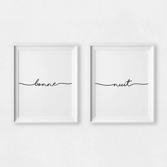 bonne nuit print set of 2 prints above bed wall art. Black Bedroom Furniture Sets. Home Design Ideas