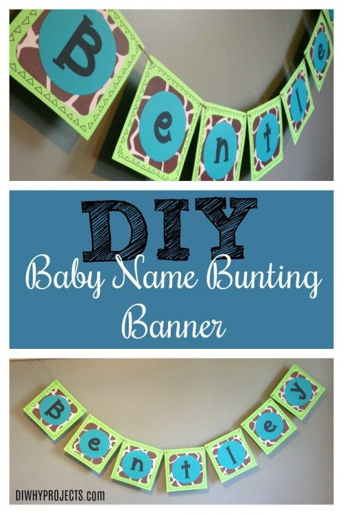 DIY Craft Custom Baby Name Banner -Baby Shower and Nursery Tutorial - D-I-Why Projects  #papercrafts