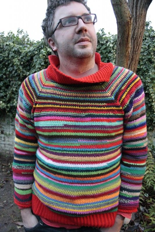 2be3ccb6e1208e Crochet Sweater made with leftover yarn - Would your guy rock this handmade  pullover