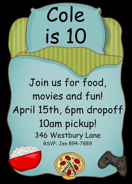Boys Sleepover Party Birthday Invitation