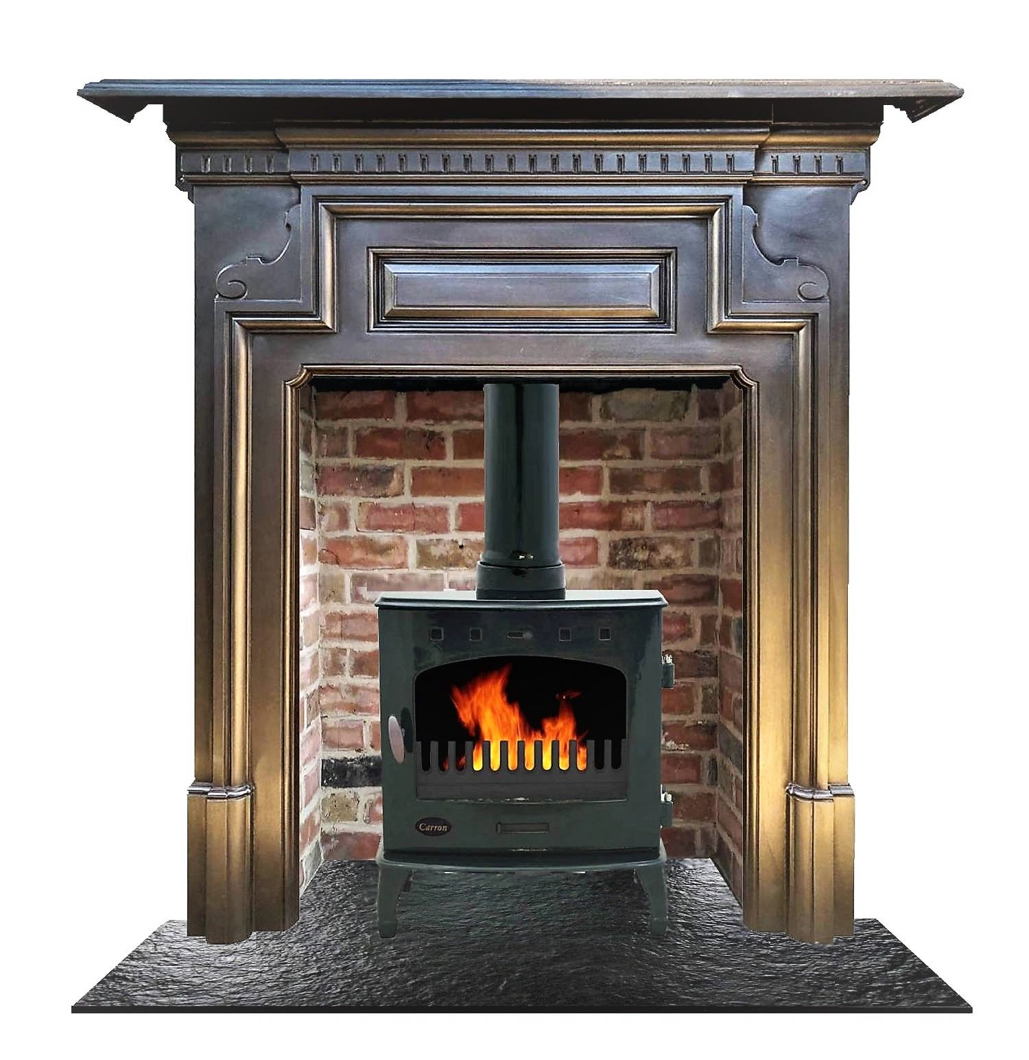 Antique Circa 1903 Edwardian Surround With Brick Chamber Enamel Stove And Riven Slate Hearth Castiron Castir Slate Hearth Stove Fireplace Antique Fireplace