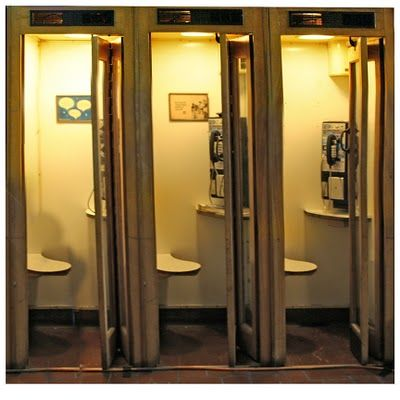 Row of Phone Booths. Something today's children will never know!