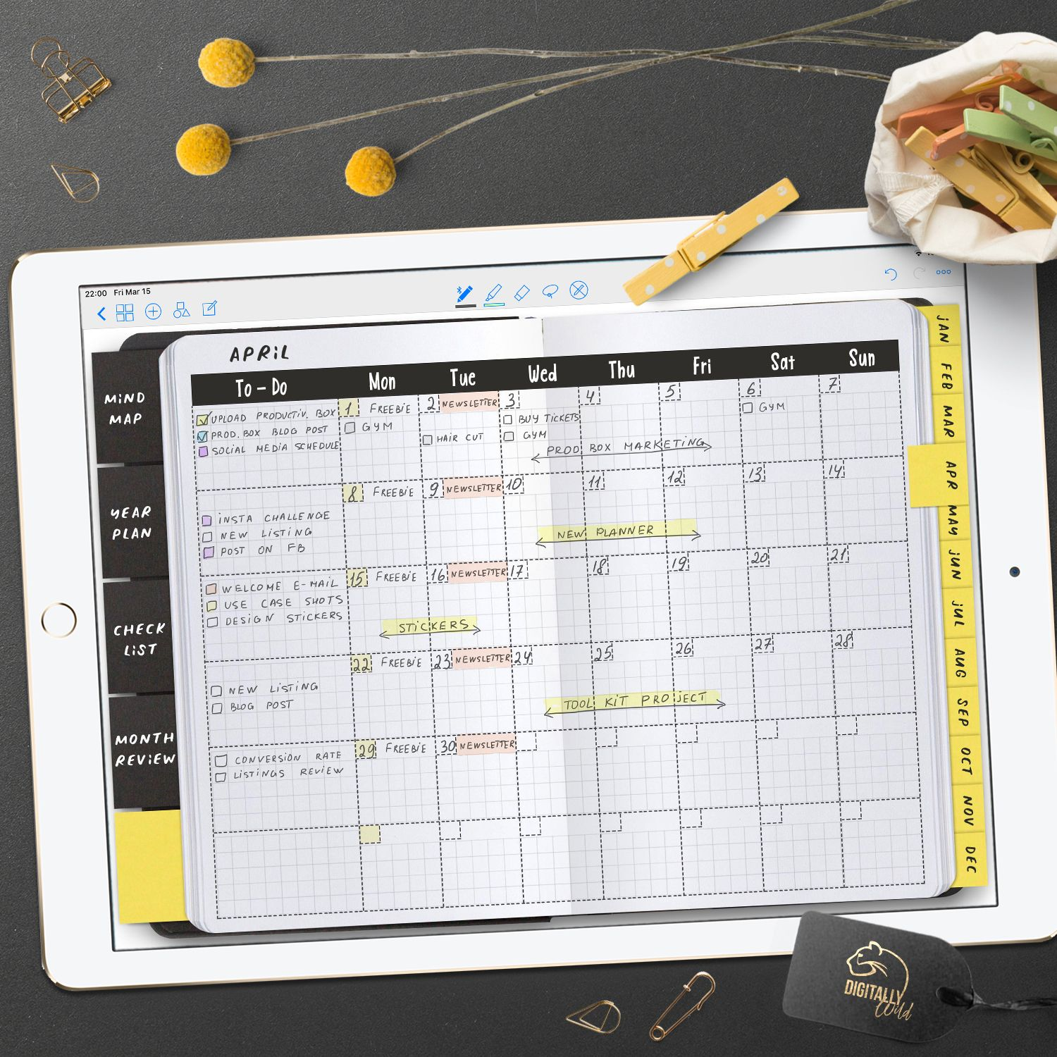 Digital Project planner with time blocking technic