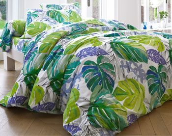 linge de lit impression motif tropical parure de lit. Black Bedroom Furniture Sets. Home Design Ideas