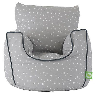 Details About Cotton Grey Stars Bean Bag Arm Chair With
