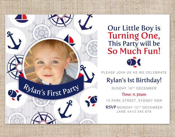 Printable Custom Boys 1st Birthday Party Invitation