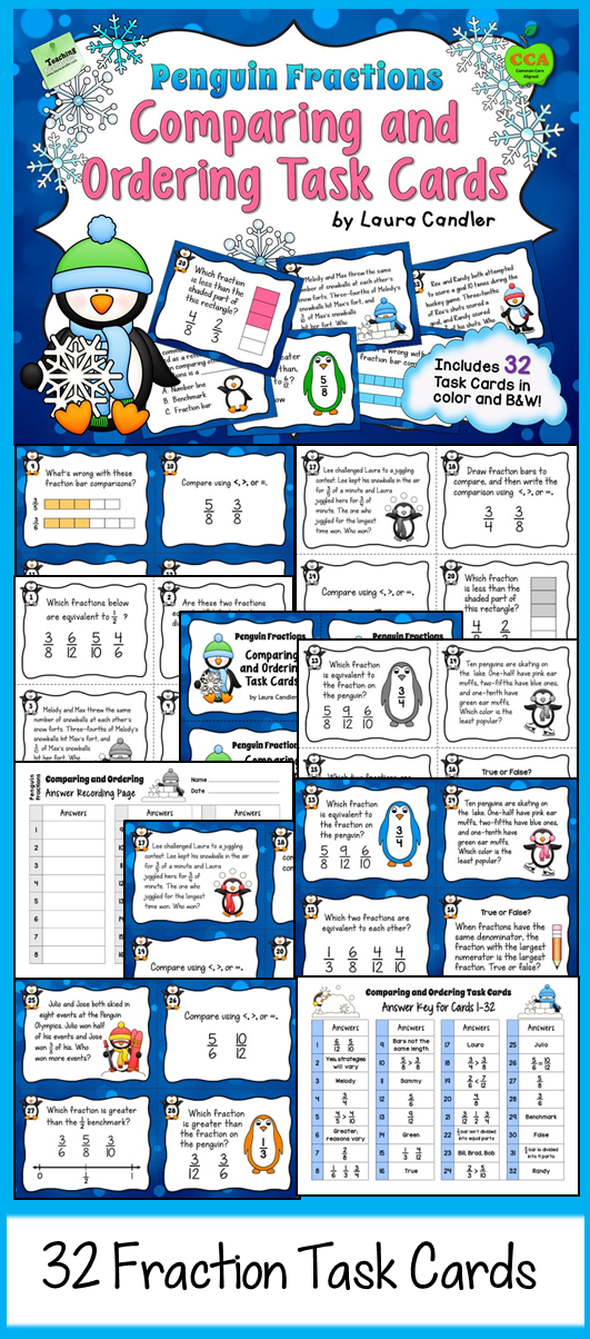 Comparing Fractions Task Cards (Penguin Fractions) | Comparing ...