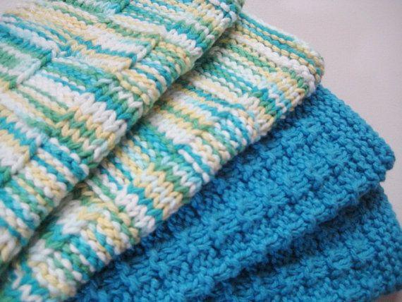 Soft Natural Dish Cloths Wash Cloths Hand Knit Bright Blue Yellow and Green