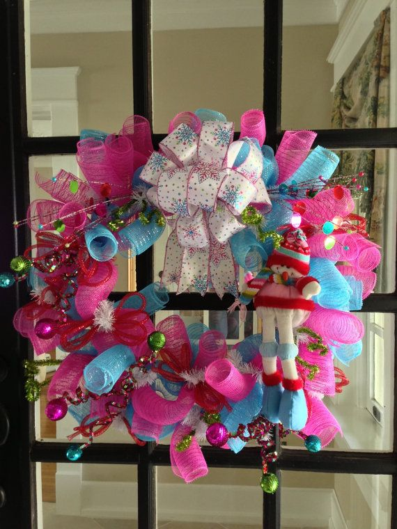 Girlie Snowman Christmas Deco Mesh Wreath by DoorDecorbyCharla