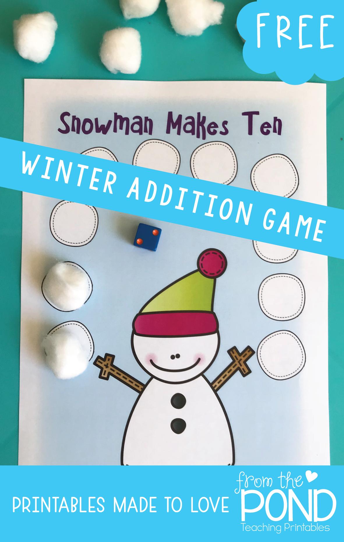 Winter Math Games | Math, Math activities and School