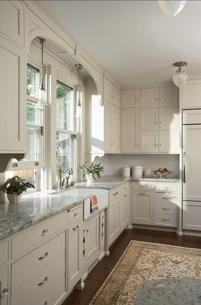 White Kitchen Cabinets Gray Granite Countertops Dark Wood Floors Persian Rug Kitchen Painted Kitchen Cabinets Colors Kitchen Design Kitchen Cabinet Design